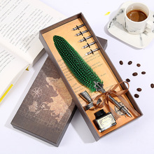 Creative Feather Pen Personality Metal Fountain Pen Vintage Calligraphy Dip Quill Pen 5 nib gift box set office business gifts все цены