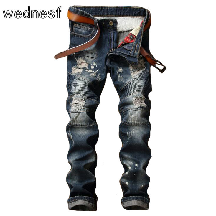 ФОТО #1958 2017 Distressed Skinny Patchwork Fashion Ripped jeans for men Distressed famous brand Mens biker jeans Pantalon homme