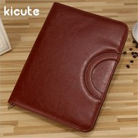 Kicute 1pcs Black Brown PU Leather Zipped Ring Binder Conference Folder Document Bag Business Briefcase Office