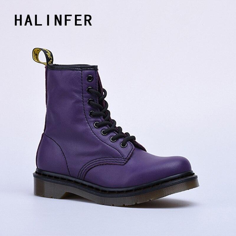 HALINFER martin boots for women Soft genuine leather 8 eyes fashion purple platform Hand ...