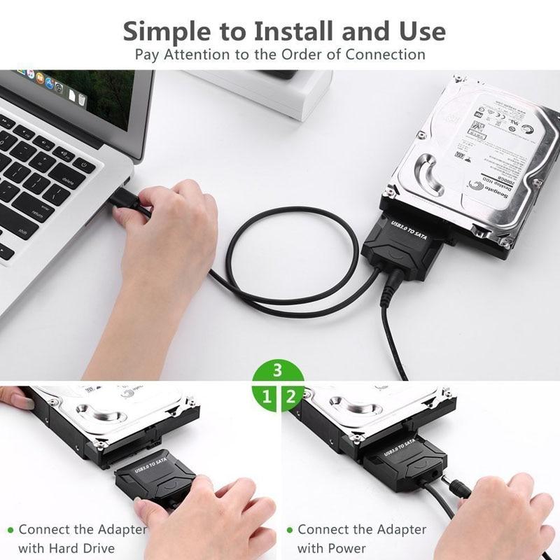 Sata адаптерінің кабелі USB 3.0-ден Sata - Компьютерлік кабельдер мен коннекторлар - фото 6