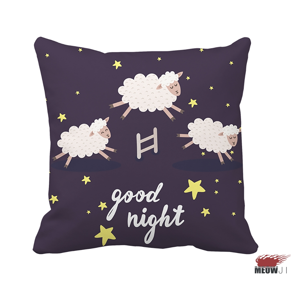 [MIAOJI] <Sweet Dreams> Good Night Starry Purple Sheep Multi Size Throw Pillow Case Wedding Gift Free Shipping