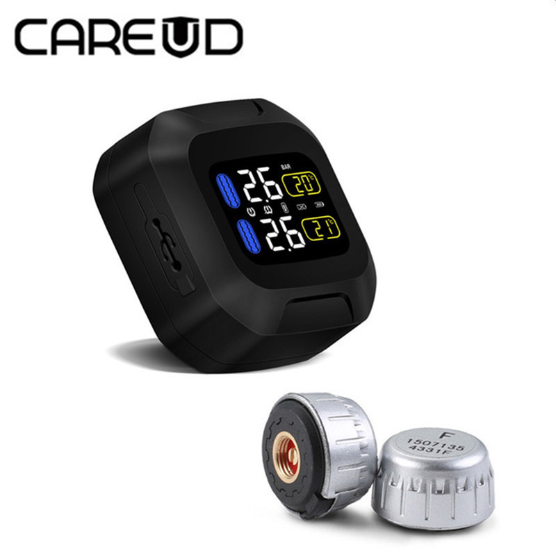 Original CAREUD Wireless Motorcycle TPMS Tire Pressure Monitoring System Motor Tyre Aotu Alarm 2 External Sensor Moto Tools careud u903 wf tpms wireless tire pressure monitor with 4 external sensors