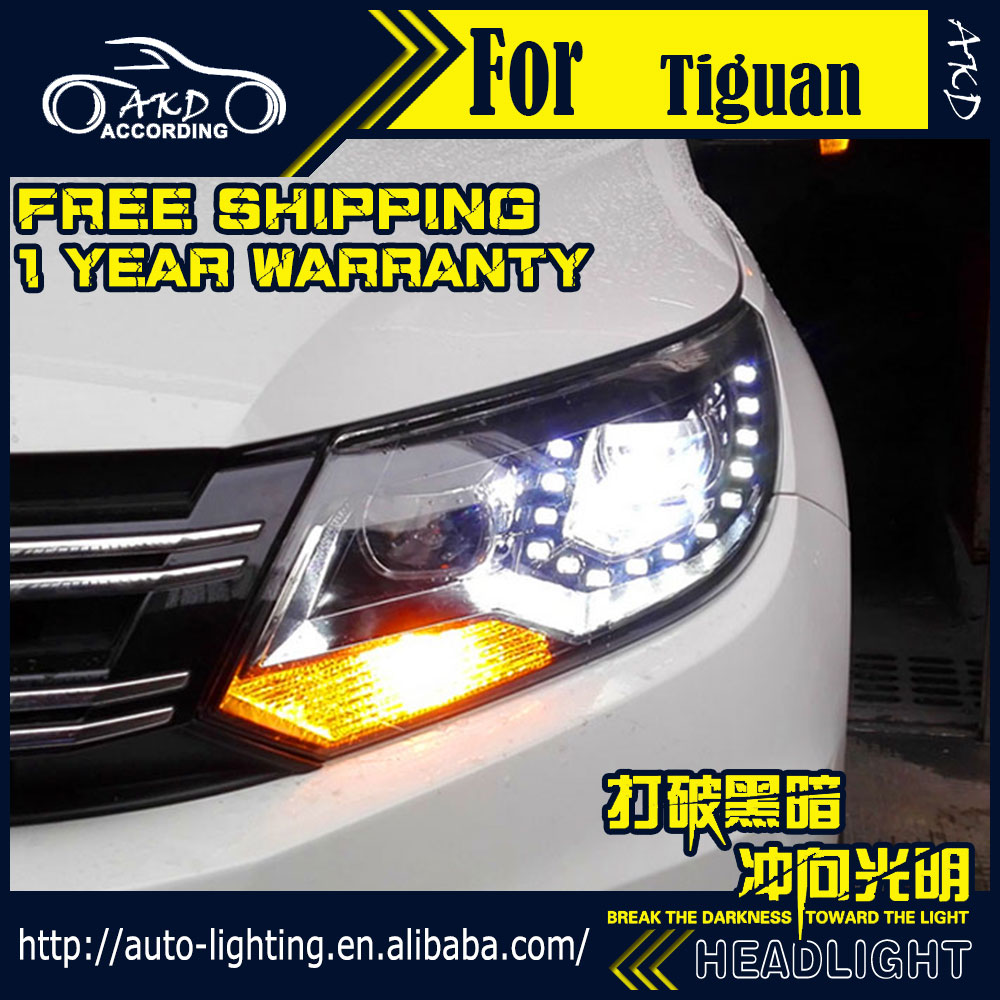 AKD Car Styling Headlight Assembly for VW Tiguan Headlights 2011up Tiguan Bi Xenon Headlight LED DRL HID Front Lamp Accessories car rear trunk security shield cargo cover for volkswagen vw tiguan 2016 2017 2018 high qualit black beige auto accessories