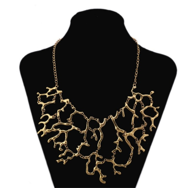 Classic vintage geometric hollow branch flower collar necklace women classic vintage geometric hollow branch flower collar necklace women coral pendants metal gold silver plated chain mozeypictures Image collections
