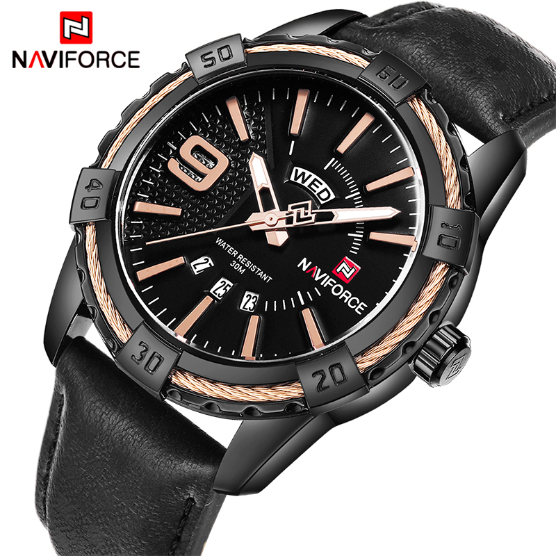 2017 New NAVIFORCE mens quartz wristwatches mens fashion casual leather sports watchbands mens clock Relogio Masculino+gift