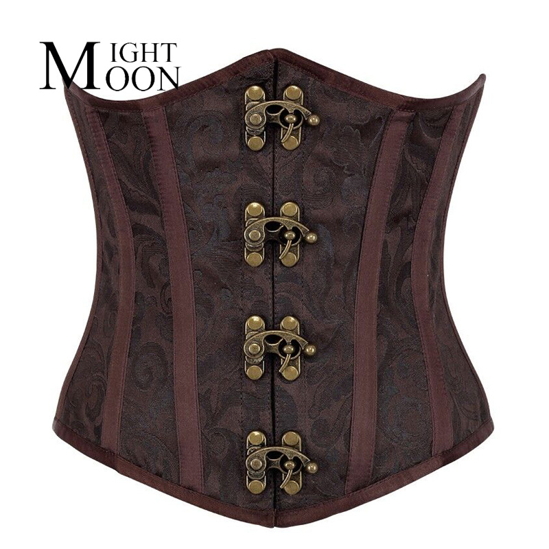 MOONIGHT Steampunk   Corsets     Bustiers   Sexy Korset Brown Underbust Goth Buckle Flowers Pattern Corsetto Lingerie Under Bust   Corset