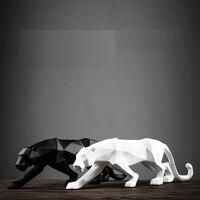 Abstrato moderno preto pantera escultura geométrica resina leopardo estátua vida selvagem decoração presente artesanato acessórios de mobiliário l3176 Estátuas e esculturas     -