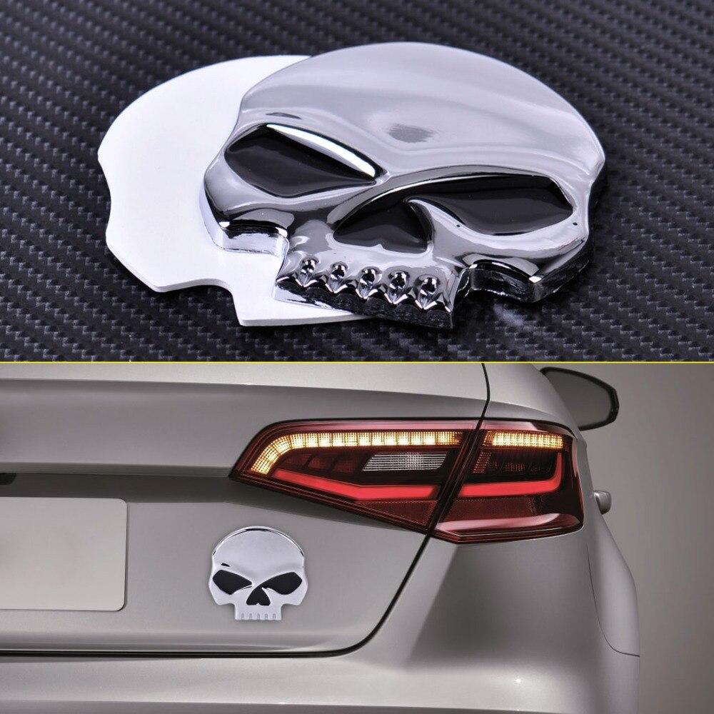 Design car emblem - Car Auto Suv Trucks Motorcycle Bicycle Metal 3d Silver Skull Head Logo Skeleton Devil Head Emblem