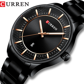 CURREN Top Brand Man Watches Clock Fashion Quartz Men Business Steel Wristwatch with Date Classic Black Male - discount item  90% OFF Men's Watches