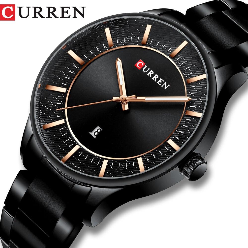 CURREN Top marque homme montres horloge homme mode Quartz montres hommes affaires en acier montre-bracelet avec Date classique noir mâle