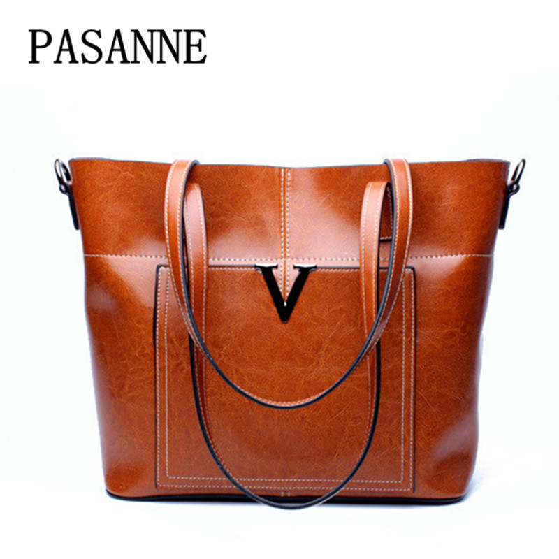 2017 New  V Tote Women Bag PASANNE Luxury Fahison Genuine Leather Female Totes Leather Woman Large Shoulder Bags Handbags 100% genuine leather women bags luxury serpentine real leather women handbag new fashion messenger shoulder bag female totes 3