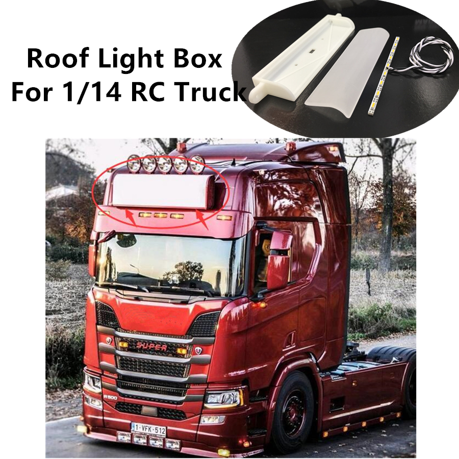 <font><b>RC</b></font> Truck Roof <font><b>Lights</b></font>-Box W/ <font><b>LED</b></font> <font><b>Bar</b></font> Kits For Tamiya 1/14 <font><b>RC</b></font> Tractor Trailer Scania Actros R620 56323 R470 R730 Toys Truck image