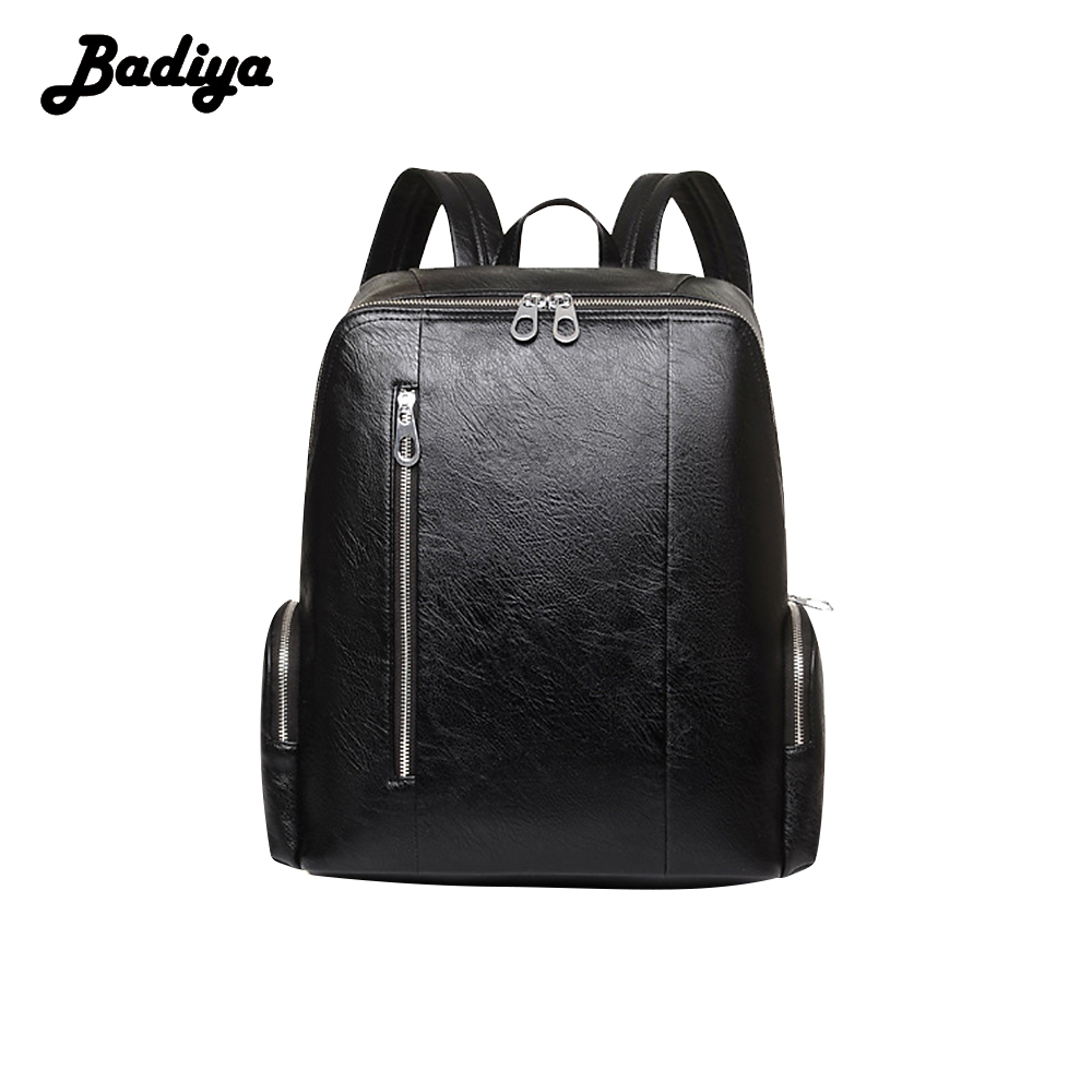 Badiya High Capacity Men Backpack PU Leather New 2017 Casual Luxury Multifunction Backpacks Travel Luggage Bags new men s pu leather solid business backpack fashion casual travel high capacity