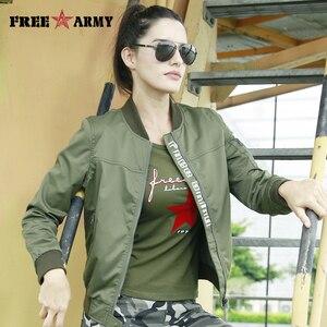 Image 1 - FreeArmy Fashion Casual Women Jacket Coat Light Weight Womens Jackets Camouflage Ladies Clothing Style Jacket Bomber 2018 Fall