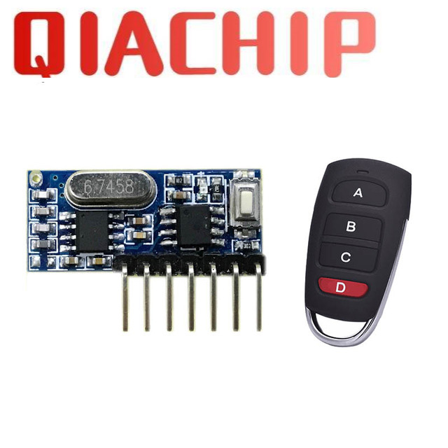 rf 433mhz transmitter 4 button remote control and receiver circuit module kit fixed ev1527 decoding 4CH output with learning diy-in Remote Controls from Consumer Electronics