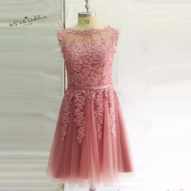 Fashion Pink Lace Prom Dress Short Knee Length Homecoming Dresses ...