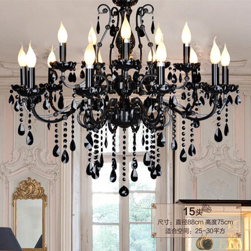 Home retro Primitive black chandelier crystal lights & lighting led lustre Cristal E14 big dining room Iron pendant chandelier