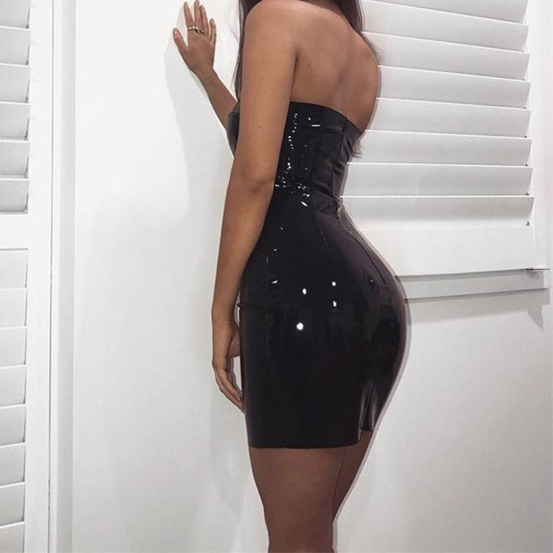 aa690d67ae Sexy Women Tube Dress Shiny Leather Club Summer Wet Look Red Bodycon Dress  XL -in Dresses from Women s Clothing on Aliexpress.com