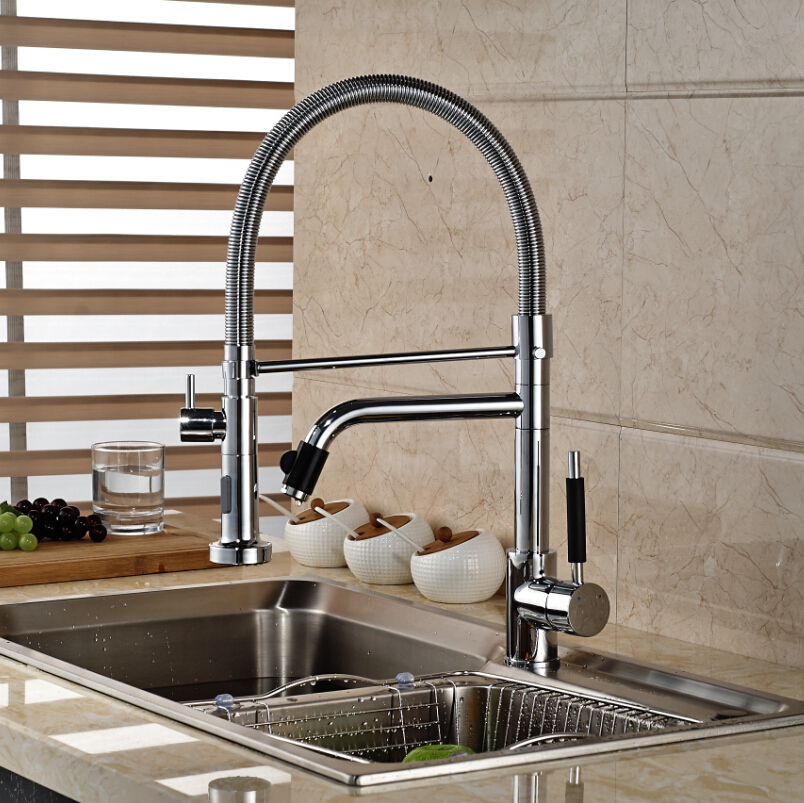 Chrome Finished Spring Pull Down Kitchen Sink Faucet Single Handle Dual Spout Kitchen Mixer Taps Deck Mount цена и фото