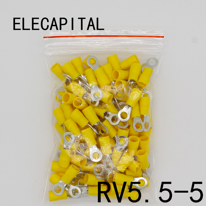 цена на RV5.5-5 Yellow Ring insulated terminal cable Crimp Terminal 100PCS/Pack suit 4-6mm2 Cable Wire Connector RV5-5 RV