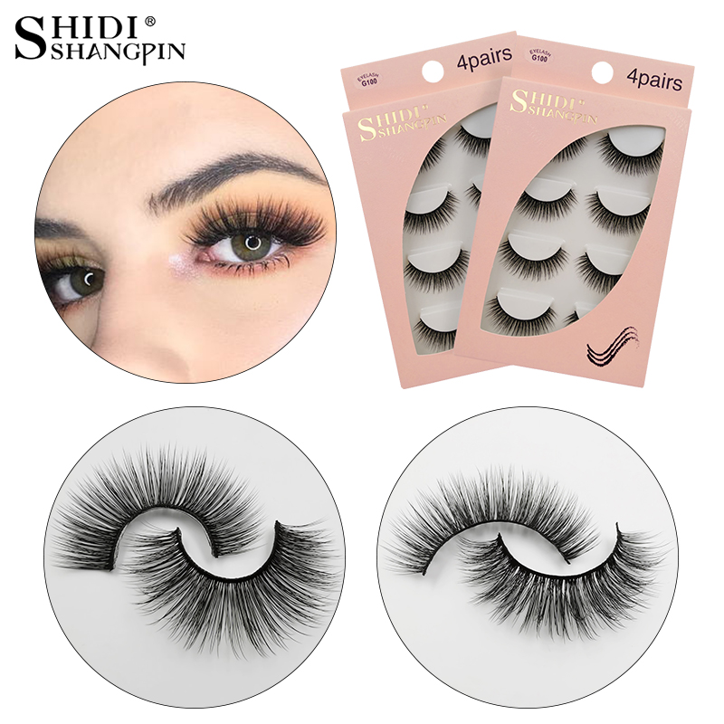 SHIDISHANGPIN 4 Pairs Mink Eyelashes Natural Long False Eyelashes Dramatic Faux Eye Lashes For Makeup Mink Cilios Maquillaje