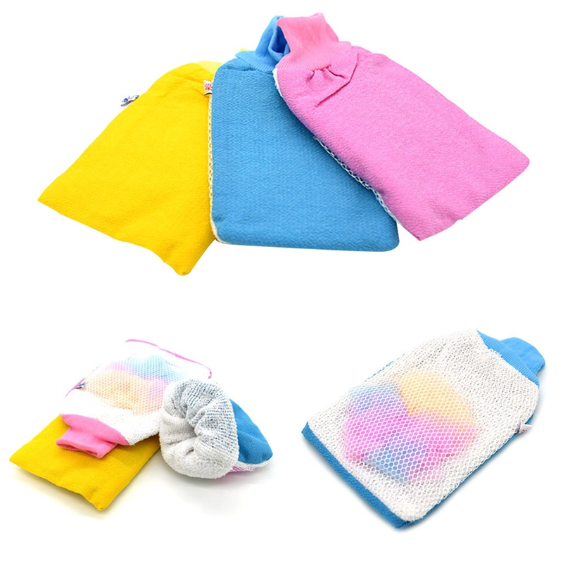 1pcs Tight Mouth Double-Sided Single-Layer Shower Towel Towel Rub Mud Bath Gloves Bath Sponge Bath Brush Color Random
