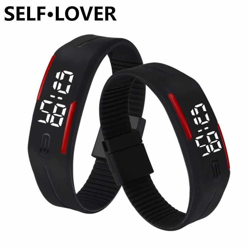 2018 известный бренд SELFLOVER простые часы девушка желе силиконовый цифровой светодиодный спортивный браслет наручные часы модные женские мужские часы
