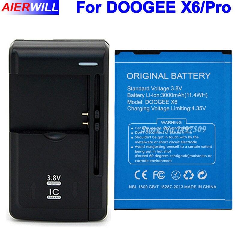 Pour DOOGEE X6 Batterie pour DOOGEE X6 Pro Bateria Accumulateur AKKU 3000 mAh + Chargeur Universel