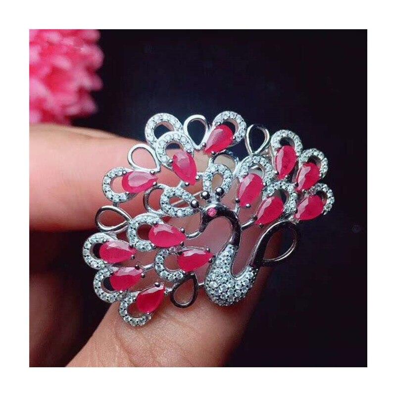 Broches de rubis de paon naturel pour la fête féminine saint valentin cadeaux goutte d'eau véritable pierre gemme fine bijoux 925 argent Sterling 329 - 4