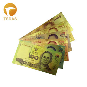 6Pcs/Set Thailand Banknote Set Gold Banknote 20 50 100 500 1000 1000 Baht Banknotes in Gold Plated For Collection