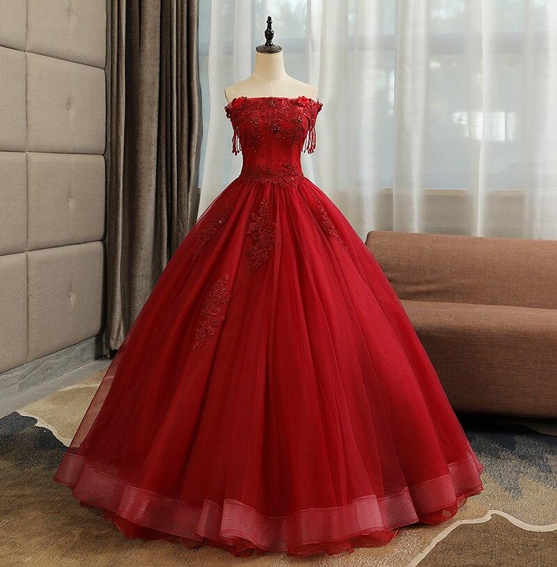 Do Dower 2019 nouveau vin rouge Quinceanera robes élégant hors de l'épaule dentelle appliques perles sur mesure bal Quinceanera robe