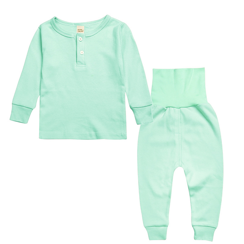 1-5 Years Little Boys Girls Clothes Sets 2pcs High Waist Pajama Spring Autumn House Wear Solid Long Sleeve Babies Clothing