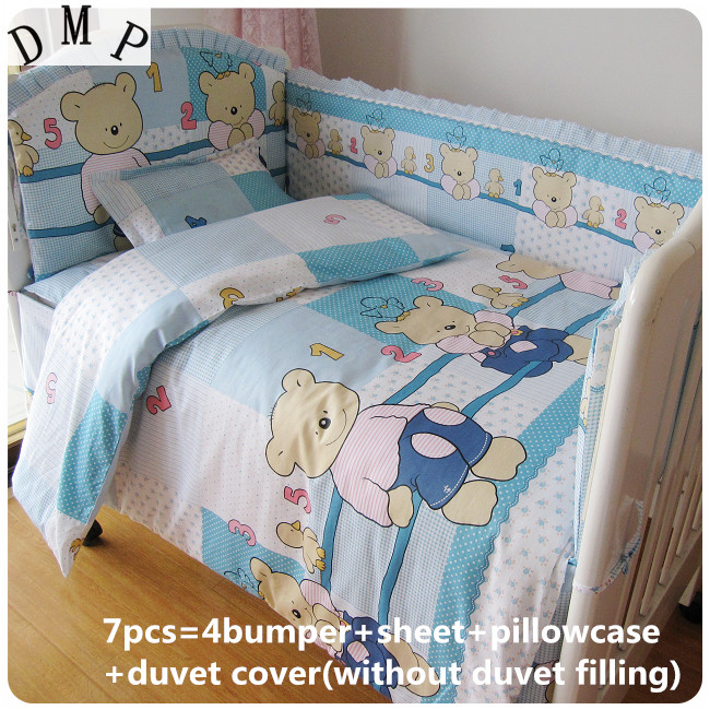Discount! 6/7pcs High Quality Baby Bedding Set 100% Cotton Baby Bumpers With Fillers ,120*60/120*70cm