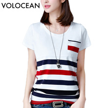 VOLOCEAN New Womens Tops Fashion 2017 Plus Size Summer Women T Shirt Casual Short Woman T-Shirts Striped O-Neck Tshirt All-match