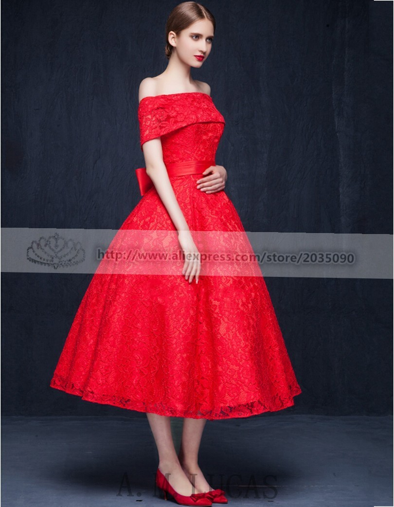 Real Photo China Red Original Design Elegant Cocktail Dress Lace Up ...