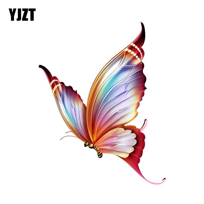 YJZT  11.8CM*15.1CM Fashion Decorative Cartoon Butterfly PVC Motorcycle Car Sticker 11-00667