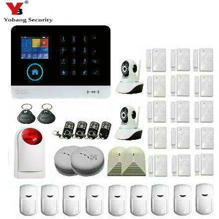 Yobang Security Wireless WIFI GSM Alarm System With Red Light Strobe Siren IP Camera sensor Smoke