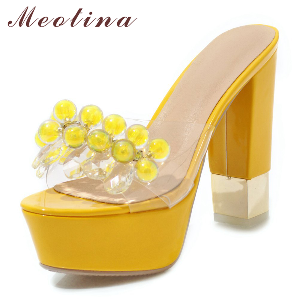 Meotina Women Slides Summer Shoes String Bead Platform Thick High Heel Shoes Transparent Open Toe Slippers