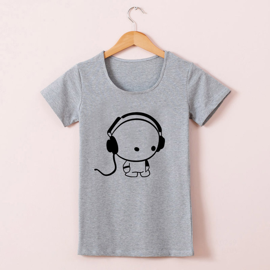 Design t shirt girl - Online Shop New Hot Tees Short Sleeve Cotton T Shirts Women Girls Funny Lovely Dj Music Design High Quality Cotton Crew Neck Short Sleeve Aliexpress