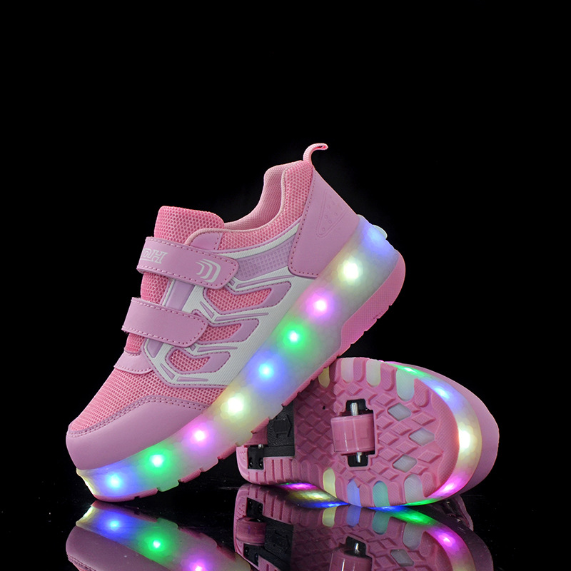 New Style New Style Wheels Shoes Automatic Wheel Lights Sports Shoes Kids Sneakers glowing sneakers usb charging shoes lights up colorful led kids luminous sneakers glowing sneakers black led shoes for boys