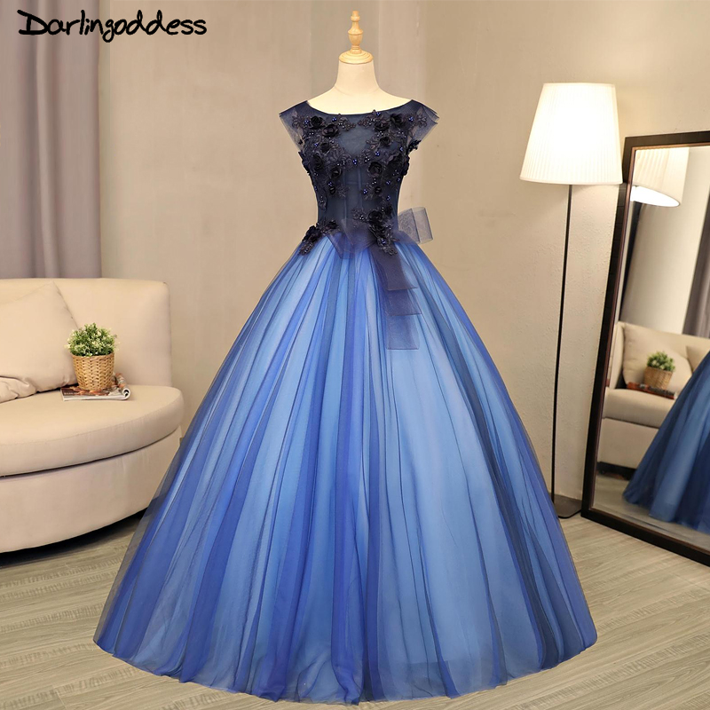 Online Shop Luxury Ball Gown Wedding Dresses Arabic 2017 Royal Blue  Princess 3D Flowers Beading Tulle Wedding Gowns Birde Dresses Real Photo  a98b5a220b7a