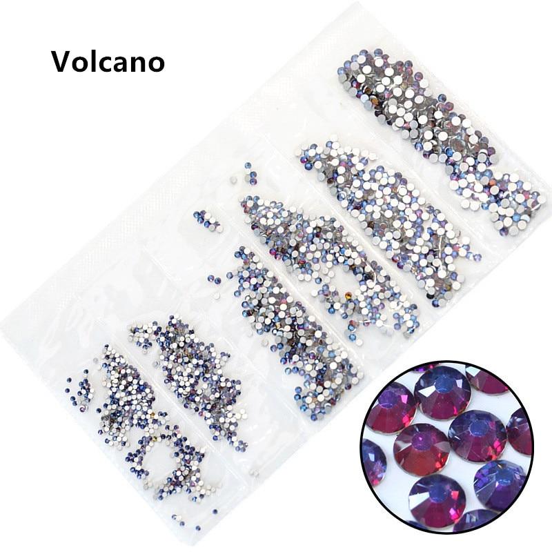31 цвет, SS3-SS10, разные размеры, Хрустальные стеклянные стразы для дизайна ногтей, для 3D дизайна ногтей, стразы, украшения, драгоценные камни - Цвет: Volcano