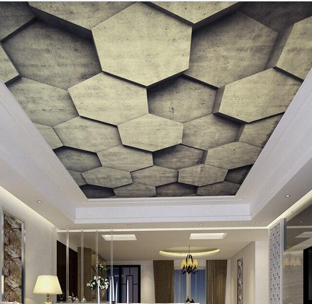 personnalis 3d papier peint au plafond pierre peintures murales pour le salon chambre plafond. Black Bedroom Furniture Sets. Home Design Ideas