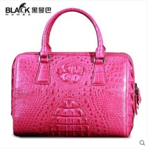 heimanba crocodile women handbag women bags 2017 new rose red real crocodile  leather Thai crocodile women boston bag