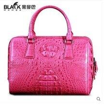 heimanba crocodile women handbag women bags 2017 new rose red real crocodile  leather Thai crocodile women boston bag