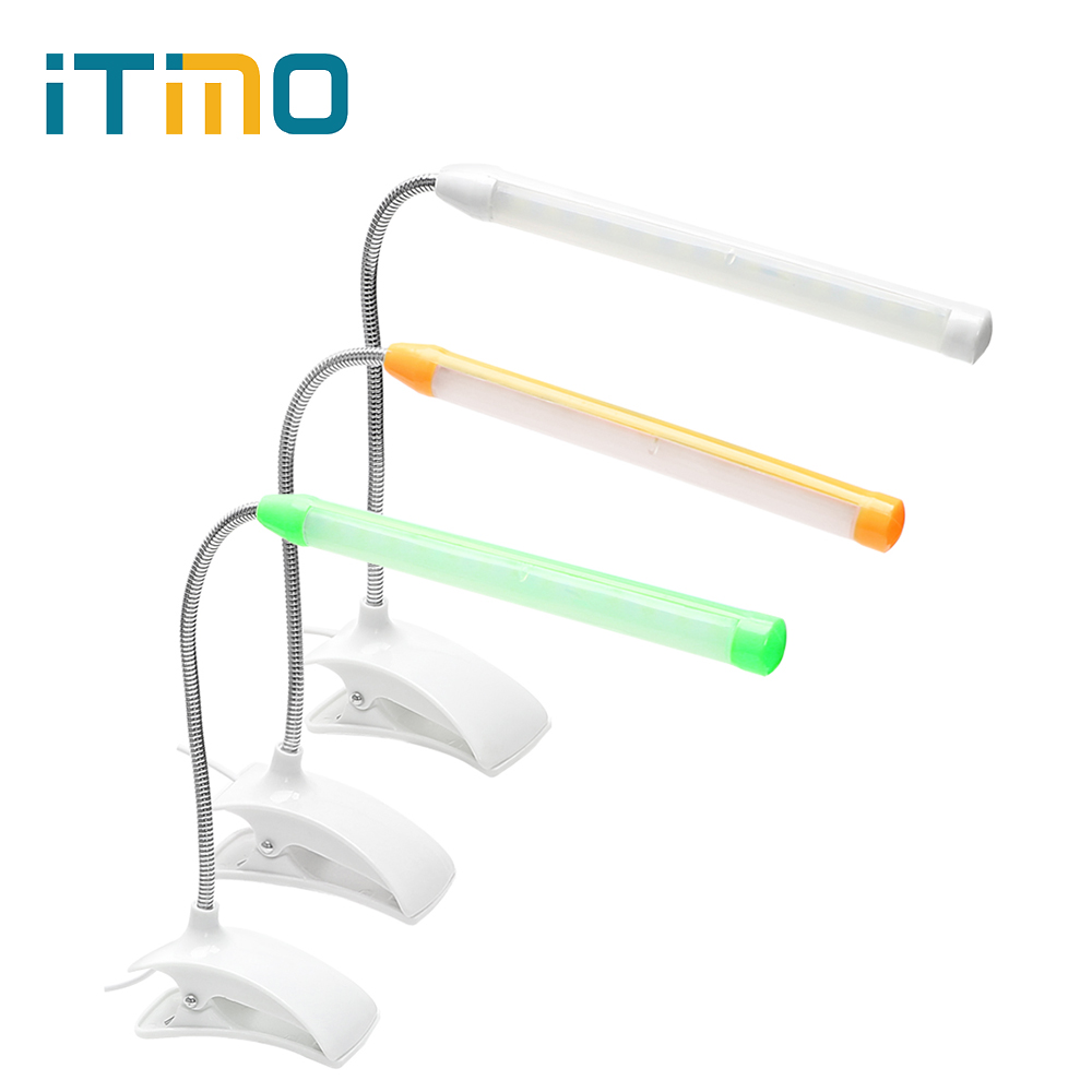 ITimo Flexible Gooseneck Reading Light Portable Clip-on Eye Protection Book Light For Children Bedroom USB LED Desk Lamp