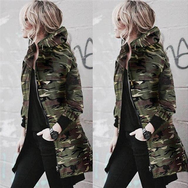 Осень-зима женские с капюшоном пальто с длинными рукавами куртка ветровка Повседневное камуфляж Пиджаки Женский куртка Топ 20 октября