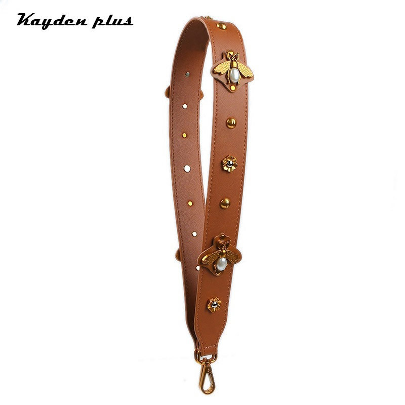 Retro Bee Straps For Bags Genuine Leather Handles For Handbags Wide Shoulder Strap Metal Flower Decoration Anse Sac A Main