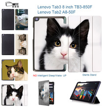MTT Pet Cats Painted Stand PU Leather Cover Case for 2016 Lenovo Tab 3 Tab2 8.0 850F/M TB3-850M TB-850M A8-50F Tablet Case Funda